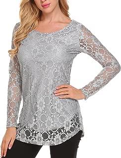 Women's Lace Casual Tops Short Sleeve/Long Sleeve Boho Elegant Casual Loose Blouse Shirts