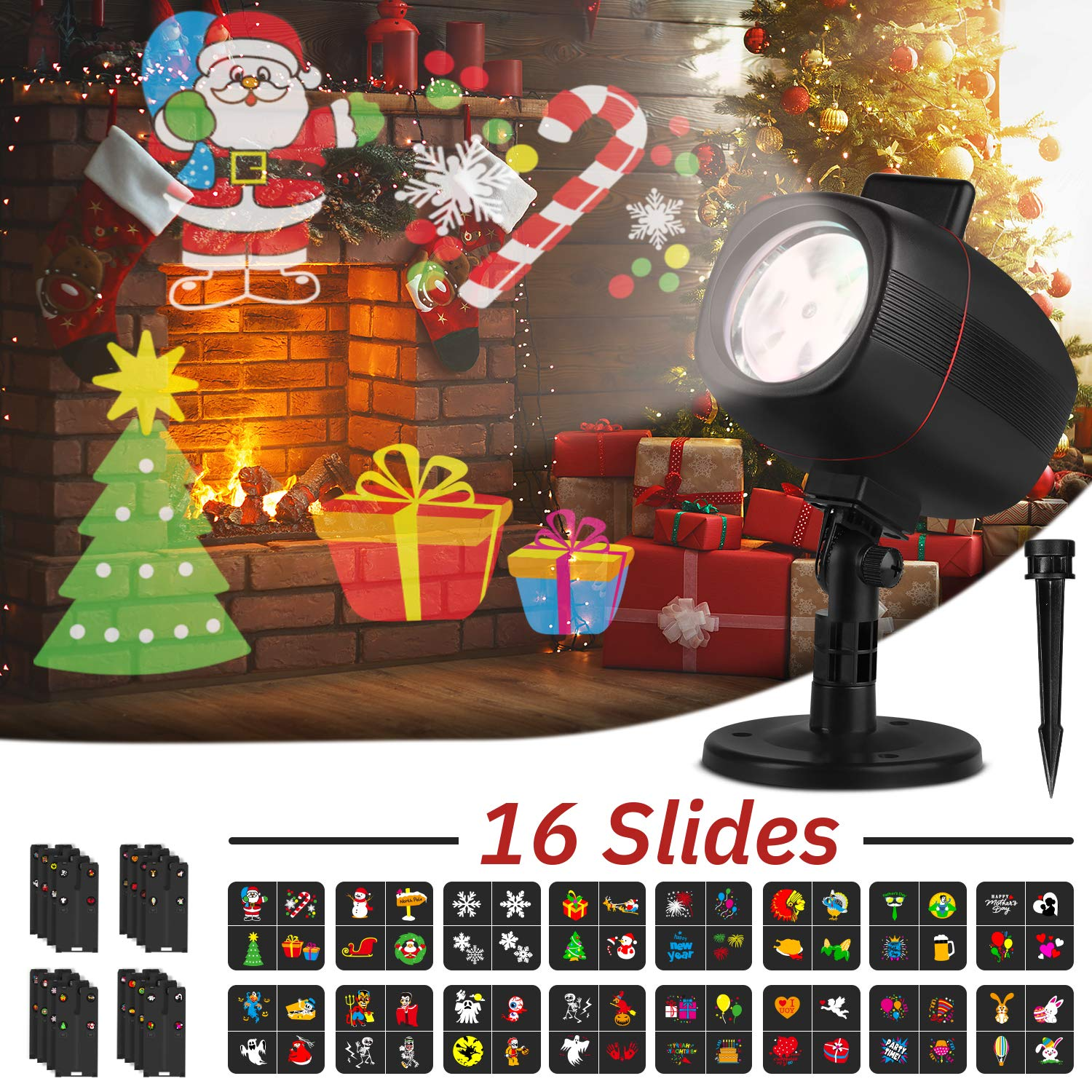 OUSFOT Christmas Projector Lights Outdoor Indoor 16 Slides 2 in 1 Adjustable LED Light Projector Christmas Decorations for Halloween Xmas