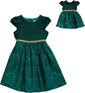 Dollie & Me Girls' Knit and Lace Matching Doll Dress