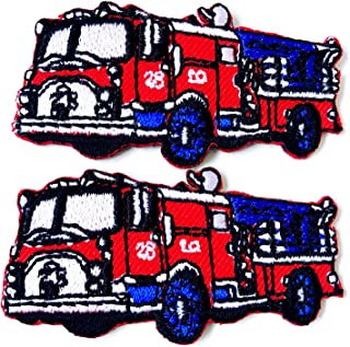 Small Size 2 pcs. Mini Fire Engine Truck Red Color Cartoon Logo Embroidered Sew on Iron on Patch for Backpacks Jeans Jackets T-Shirt Clothing