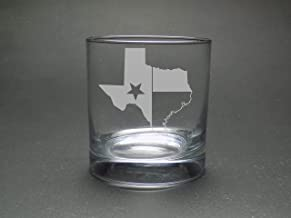 Texas Outline State Flag Rocks Glass