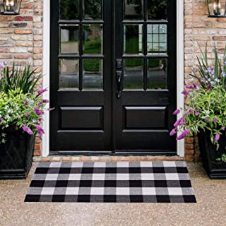 "Homcomoda Doormats for Entrance Way Outdoors/Indoor Cotton Plaid Checkered Door Mat Hand Made Braided Floor Mats (23.6"" x 51.2"", Plaid)"
