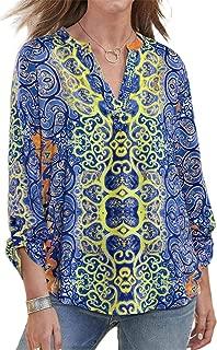 SZIVYSHI Long Sleeve Roll Up Sleeve Deep V Neck Paisley Floral Curved Hem Blouse Shirt Top