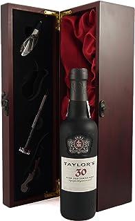 """Taylor""""s 30 year old Tawny Port 1990 37.5CL in einer mit Seide ausgestatetten Geschenkbox. Da zu vier Wein Zubehör, Korkenzieher,Giesser,Kapselabschneider,Weinthermometer 1x375ml"""