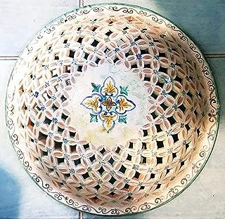 Plafoniera da Parete o Soffitto Traforata Ceramica Realizzato e Dipinto a mano Nina Palomba Made in Italy Dimensioni 42 x ...