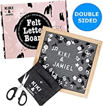 Felt Letter Board Signs with Letters: 10x10 Inch Double Sided Grey/Black Felt Message Boards - Make Your Own Sign Board with Wood Frame - 605 White/Black Plastic Letters, Numbers, Symbols, Emojis