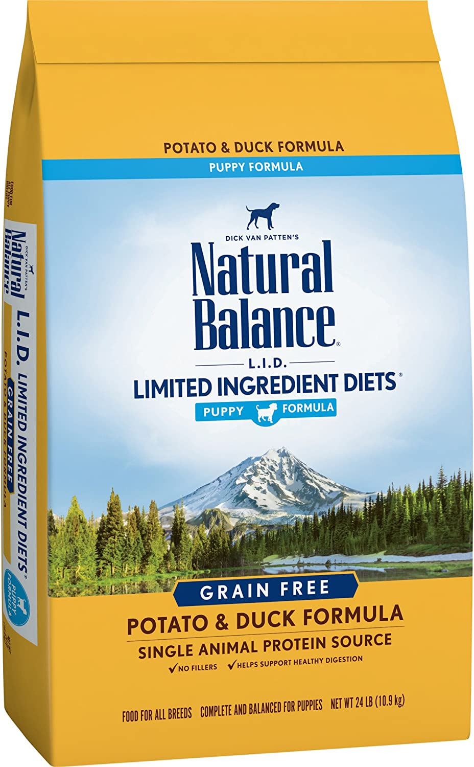 Natural Balance Puppy Formula L.I.D. Limited Ingredient Diets Dry Dog Food, Potato & Duck Formula, Grain Free, 24Pound