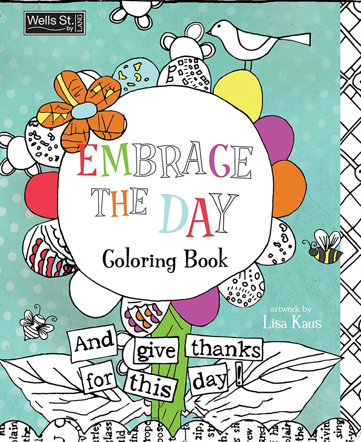 Wells Street by Lang Embrace The Day Adult Coloring Book by Lisa Kaus, 7.375 x 9.25 inches  (6093003)