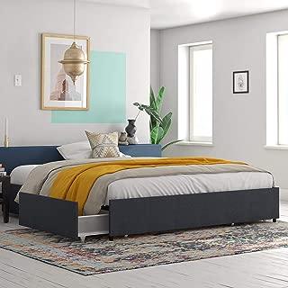 REALROOMS Alden Platform Bed with Storage Drawers, King Size Frame, Blue Linen