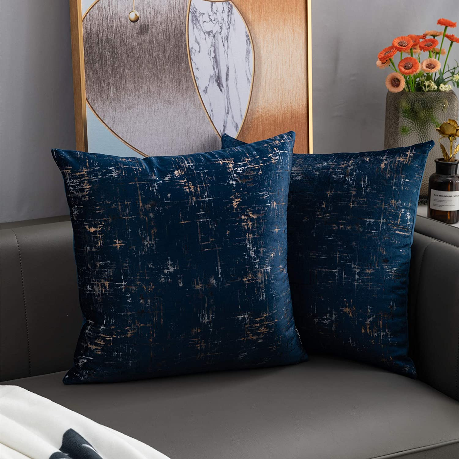 Nanhiking Velvet Soft tie-dye Throw Pillow Covers Navy Decorative Square 20x20inch Cushion Case for Sofa Bedroom Car 2 Pack(Navy 20x20) : Home & Kitchen