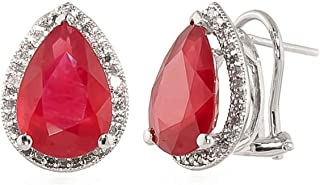 Galaxy Gold 14k Solid White Rose Yellow Gold French Clip Earrings Oval Shape 10.82 Ct Ruby and Diamonds