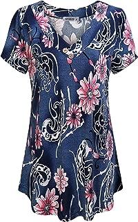 MOQIVGI Women's V Neck Short Sleeve Floral Print Blouse Tops Fashion Casual Tunic Shirts