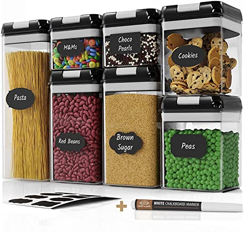 Airtight Food Storage Containers Set - 7 PC - Pantry Organization and Storage 100% Airtight, BPA Free Clear Plastic, ...