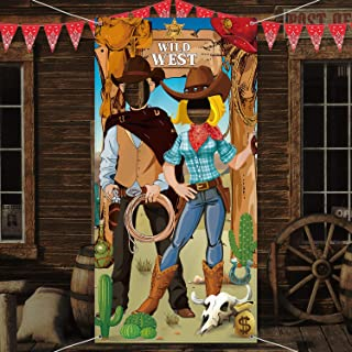 Western Party Decorations, West Cowboy Photo Booth Props, Large Fabric West Cowboy Photo Door Banner Background, Funny Western Games Supplies for Wild Western Cowboy Party, 6 x 3 Ft