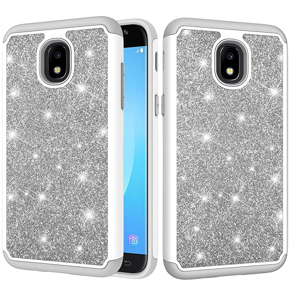 Case for Samsung Galaxy J7 2018/ Galaxy J7 Refine/ J7 Star/ J7 V 2nd Gen, CASE4YOU Bling Heavy Duty High Impact Cover Shockproof Protection Defender Bumper TPU+PC 2 in 1 Back Cover Silver Glitter