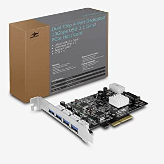 Vantec 4-Port Dedicated 10Gbps USB 3.1 Gen 2 PCIe Host Card with Dual Controller For PCIe x4/x8/x16 slot Black/Silver Blac...