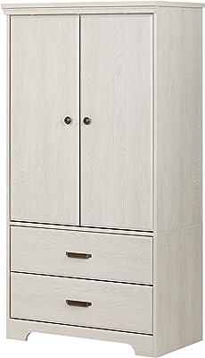 Amazon Com South Shore Versa 2 Door Armoire With Drawers Winter Oak Furniture Decor