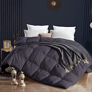 WENERSI Premium Goose Down Comforter Queen,All Seasons Duvet Insert,1200 Thread Count 100% Egyptian Cotton Fabric,Ultra-Soft&Down Proof,750 Fill Power Queen Size Comforter(Solid Grey,90x90inches)