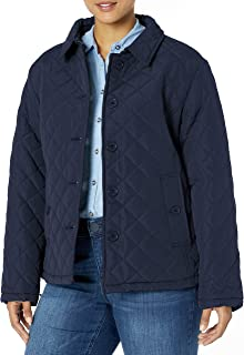 Women's Diamond Quilted Jacket with Fold Collar