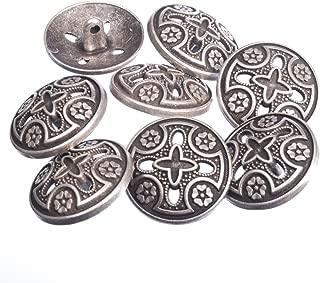 Zinc Diecasted Metal Shank Button - Medieval Templar Cross Design - 36 Line - Antique Silver