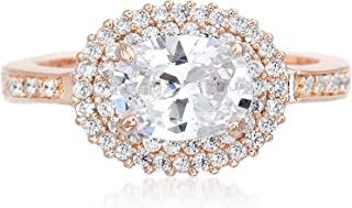 Cubic Zirconia Oval Double Halo Engagement Ring for Women in Rose Gold Plated Brass (Various Sizes)