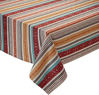 Design Imports Southwest Table Linens, 60-Inch by 84-Inch Oblong (Rectangle) Tablecloth, Mesa Stripe Jacquard