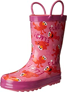 Sesame Street Girls' Kid's Character Licensed Rain Boot Pink Dual Shoe Size 7/8 Child US Toddler