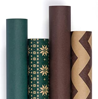 RUSPEPA Kraft Wrapping Paper Roll- Recycled Nature Paper for Wedding,Birthday, Shower, Congrats 4 Roll-30Inch X 10Feet Per Roll