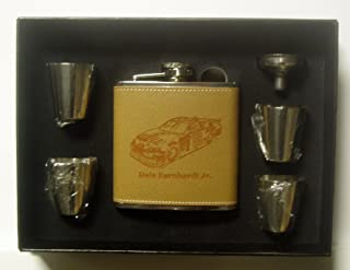 Dale Earnhardt Jr 6 oz Leather Engraved Stainless Steel Flask with 4 Stainless Steel Shot Glasses and a Funnel in a Black Presentation Box