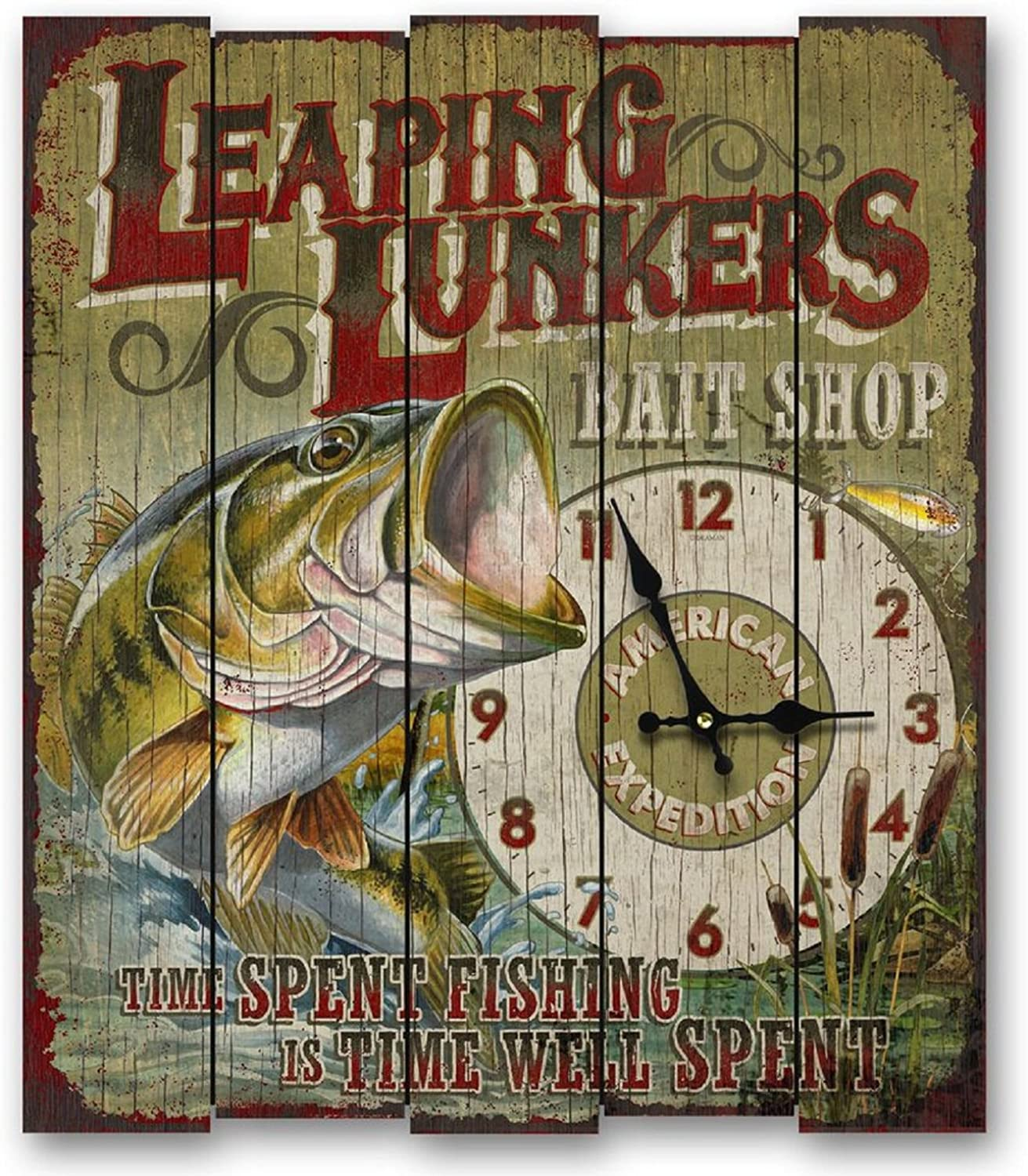 American Expedition Leapin Lunkers Bass Wooden Clock, Large, Multicolor