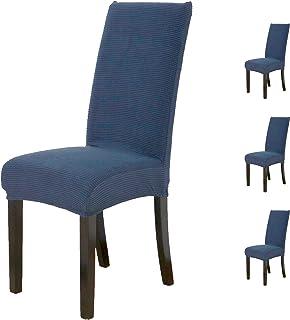Besch 4 Fundas de Silla elásticas, Lavables y Ajustables para Decorar y Proteger Cualquier Tipo de Silla. (Azul, 4)