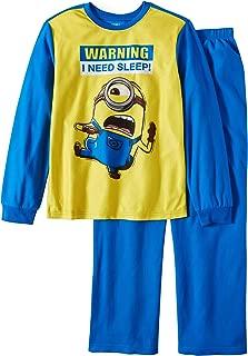 Boys Despicable Me Minions Warning I Need Sleep! Brushed Jersey Pajamas