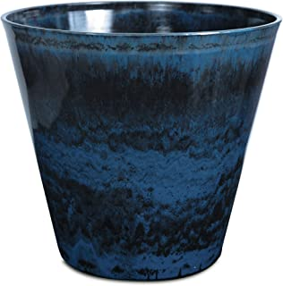 Listo CeramaStone Resin Pottery Planter, 19-Inch, Ocean Wave Blue with Gloss