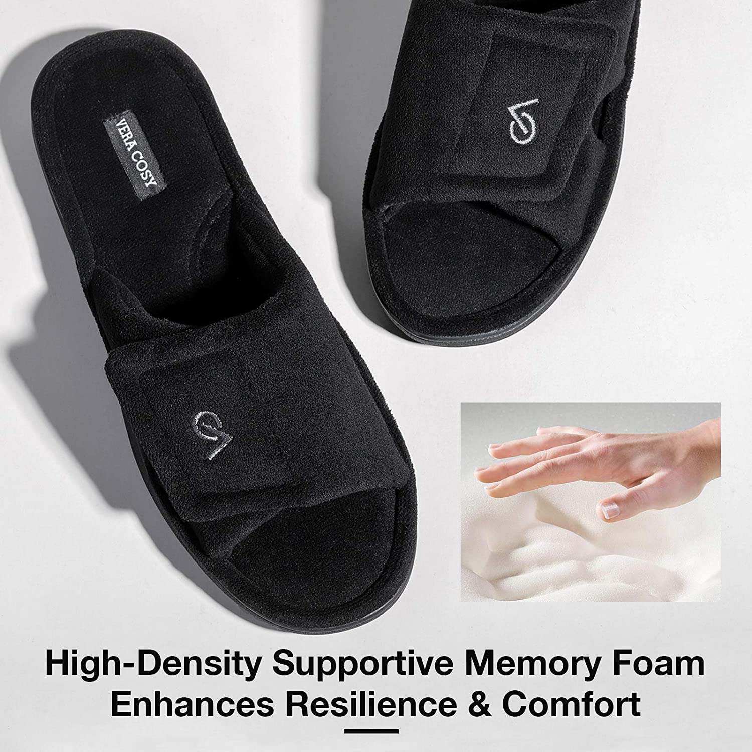 VeraCosy Mens Comfort Coral Velvet Open Toe Slippers with Adjustable Hook and Loop