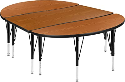 """Flash Furniture 3 Piece 76"""" Oval Wave Collaborative Oak Thermal Laminate Activity Table Set - Height Adjustable Short Legs"""