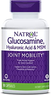 Natrol Vegetarian Hyaluronic Acid MSM and Glucosamine, 90 Capsules (Pack of 2)