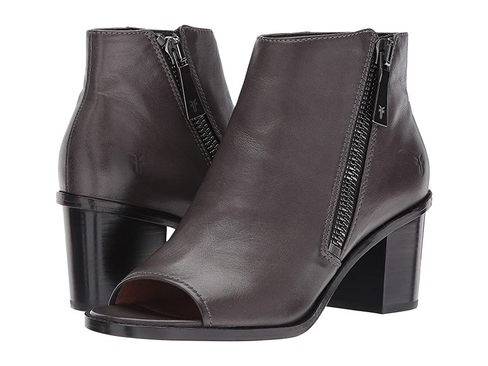 Frye Brielle Zip Peep Bootie (Charcoal Polished Soft Full Grain) Women
