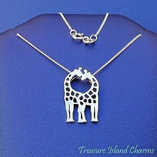 Giraffes Kissing Hugging 925 Sterling Silver Necklace 16`` or 18`` Giraffe Pendant