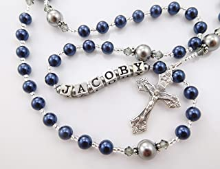 Navy Blue and Gray Personalized Swarovski Pearl Rosary - Baptism, First Communion, Confirmation, Christening Gift for a Boy
