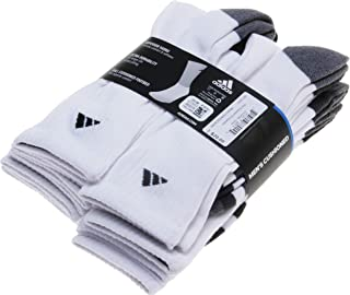 Adidas Men's 6-Pair Cushioned Athletic Crew Socks; White (Shoe Size 6-12)