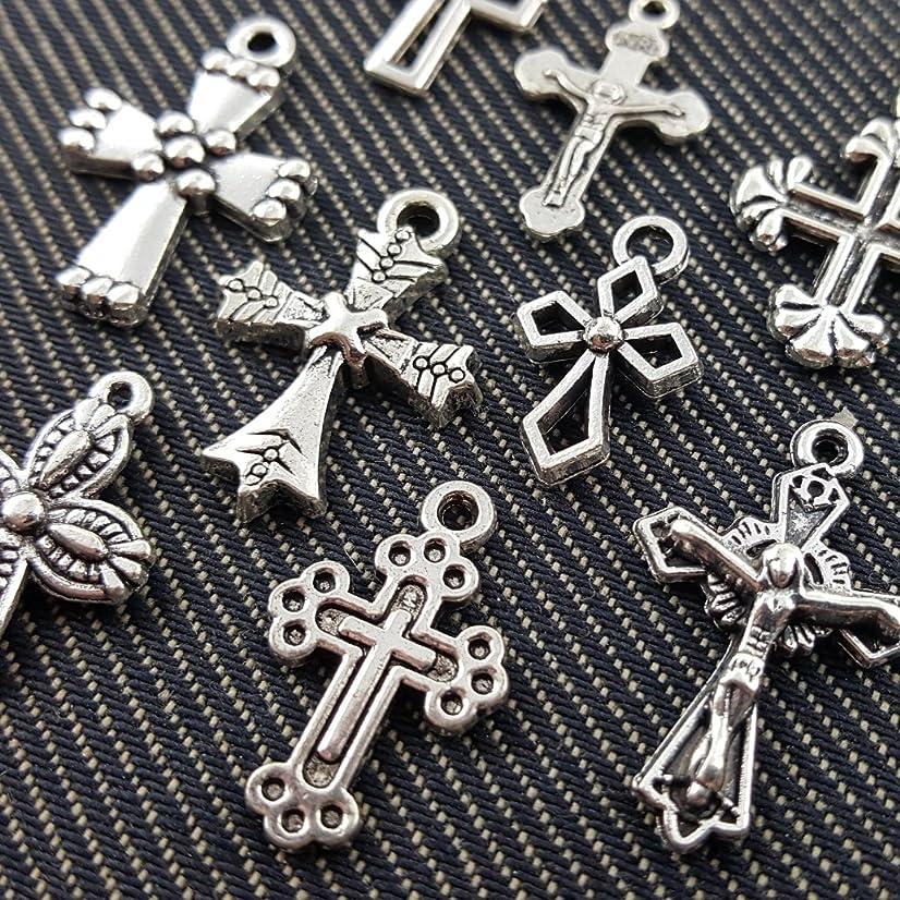 10 Mixed Tibetan Silver Plated Cross Christian Charms Pendants (NS522 C029)