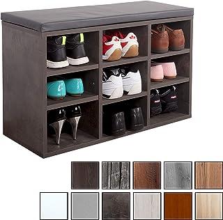 RICOO WM035-BG-A, Banco Zapatero, 79x49x30, Armario Interior con Asiento, Organizador Zapatos, Mueble recibidor, Perchero Entrada, Madera Gris Cemento