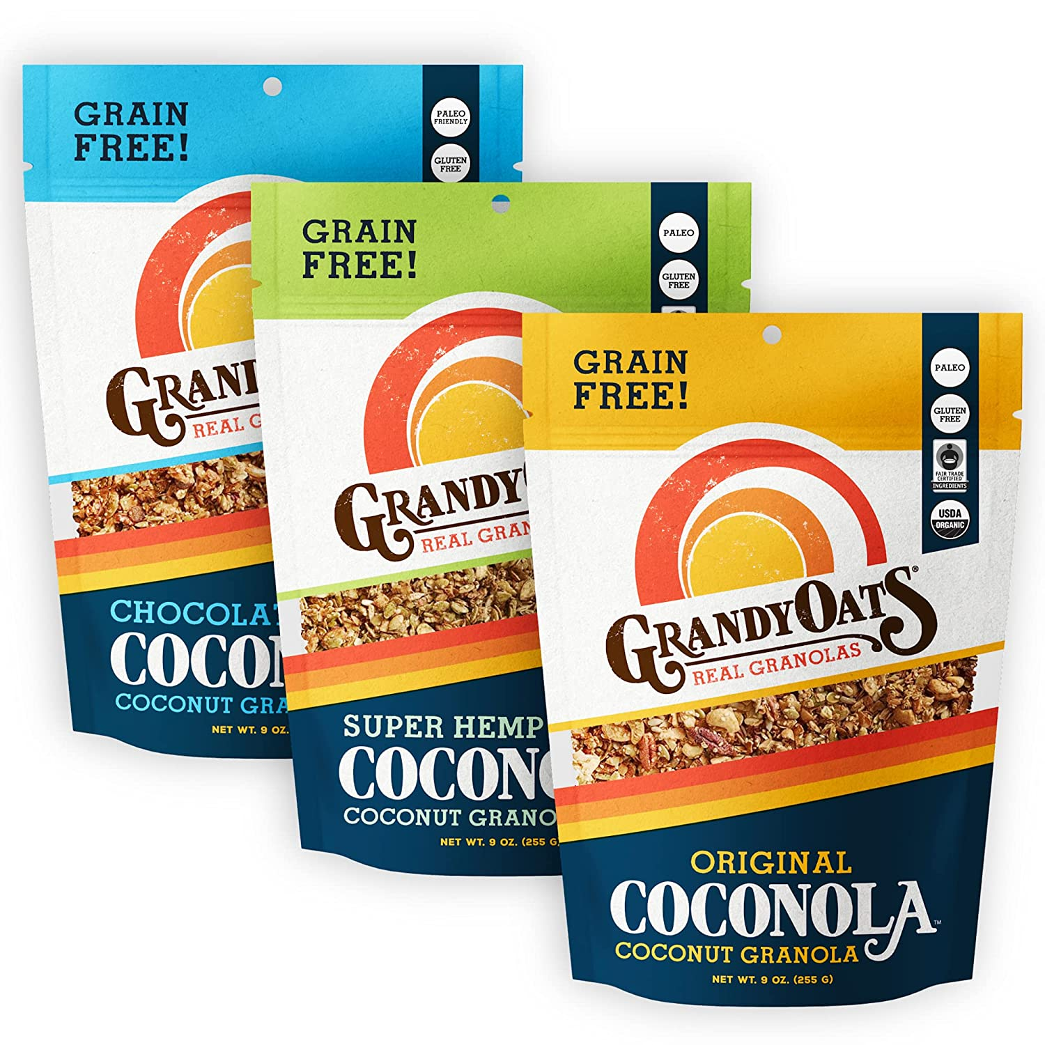 GrandyOats Organic online shop NEW before selling Coconut Granola Variety - Glut Coconola Pack
