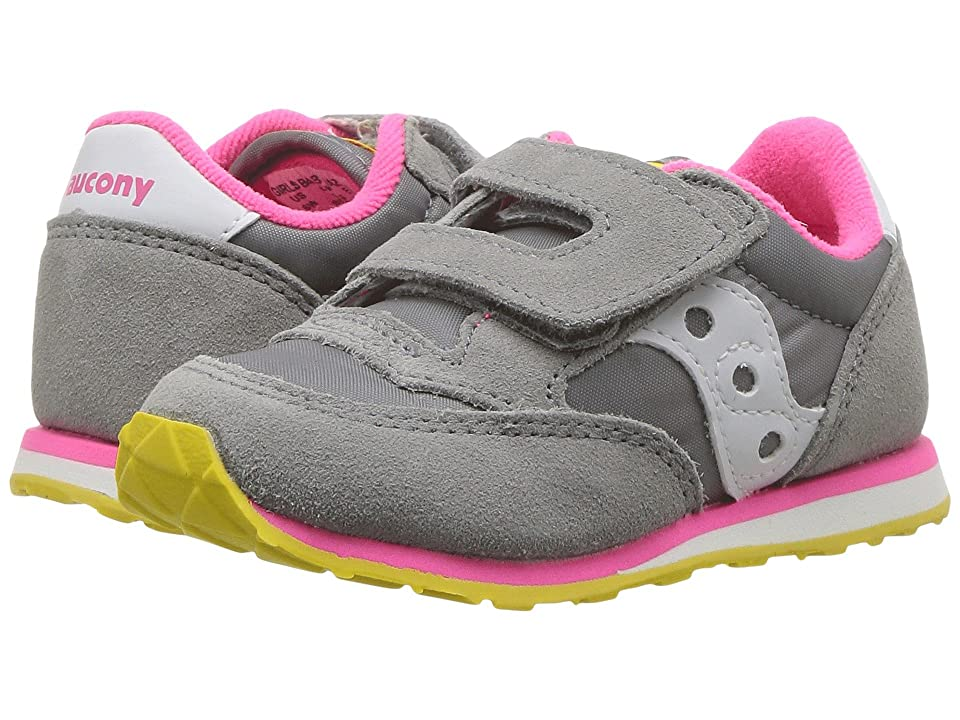 Saucony Kids Originals Jazz Hook Loop (Toddler/Little Kid) (Grey/Pink) Girls Shoes