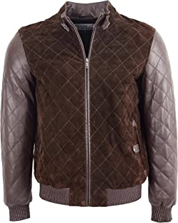 Mens Suede and Leather Bomber Jacket Quilted Varsity Style Bradley Brown