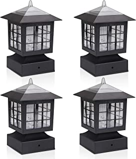 KMC LIGHTING KS101X4 Outdoor Solar Post Fence Paveway Pathway Square Lights 4 Pack with 4-Inch Fitter Base Outdoor Garden Post Pole Mount 4.88X4.88X7.48