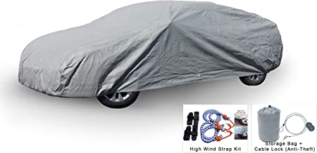Weatherproof Car Cover Compatible with Cadillac CT6 2016-2019 - 5L Outdoor & Indoor - Protect from Rain, Snow, Hail, UV Rays, Sun - Fleece Lining - Anti-Theft Cable Lock, Bag & Wind Straps