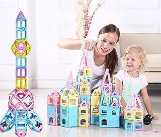 dreambuilderToy 108 Piece Magnetic Tiles,Magnet Stacking Blocks,STEM Building Blocks Preschool Educational Construction Kit,3D Magnetic Toys (108 Pieces)