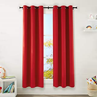 "Amazon Basics Kids Room Darkening Blackout Window Curtain Set with Grommets - 42"" x 84"", True Red"