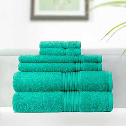 Swiss Republic 100% Cotton 6 Piece Towel Set (Dark Green); 2 Bath Towels, 2 Hand Towels and 2 Washcloths, Machine Washable, Super Soft, Quick Dry, Double Stitch Hem